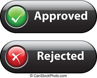 botones, vector, marca de verificación