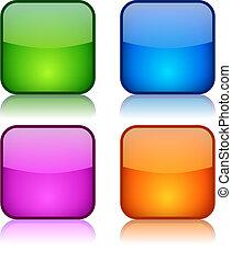botones, vidrio, cuadrado, navegación