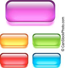botones, vidrio, tela