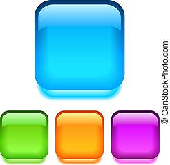 botones, vidrio, vector, cuadrado