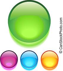 botones, vidrio, vector
