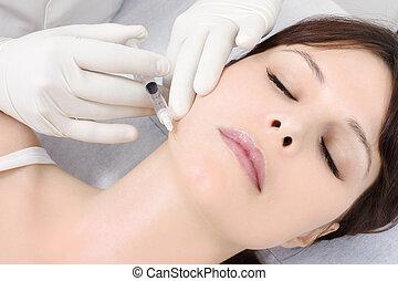 botox, docteur, jeune femme, injection, réception, caucasien