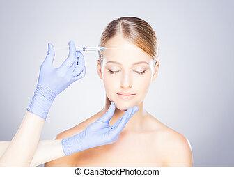 botox, faccia, donna, iniettare, dottore