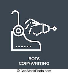 Bots copywriting icon - Bots Copywriting Thin Line Vector ...