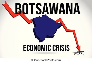 Botsawana Map Financial Crisis Economic Collapse Market Crash Global Meltdown Vector.