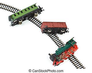 botsing, de trein van het stuk speelgoed