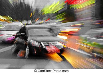 botsing, stralen, auto's, stralend, effect, hoog, visueel, snelheid, krachtig, geeft