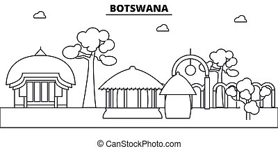 Botswana architecture skyline: buildings, silhouette, outline landscape, landmarks. Editable strokes. Flat design line banner, vector illustration concept.