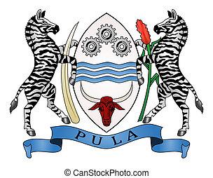 Botswana coat of arms, seal or national emblem, isolated on white background.