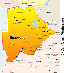 Botswana country - Abstract vector color map of Botswana...