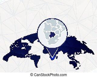 Botswana detailed map highlighted on blue rounded World Map.