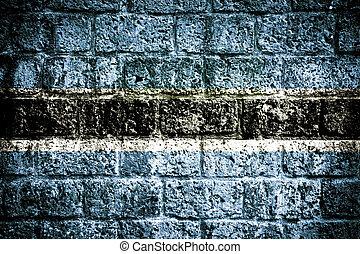 botswana drapeau, peint, sur, mur brique