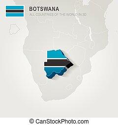 Botswana drawn on gray map