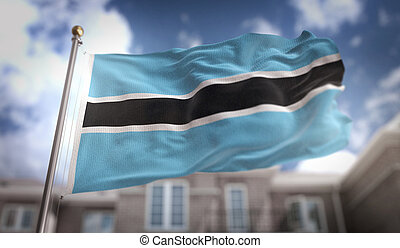 Botswana Flag 3D Rendering on Blue Sky Building Background