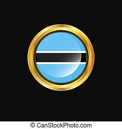 Botswana flag Golden button