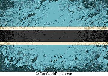 Botswana flag. Grunge background.