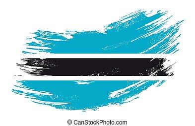 Botswana flag grunge brush background. Vector illustration.