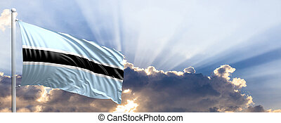 Botswana flag on blue sky. 3d illustration
