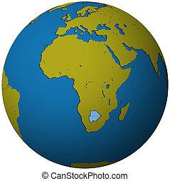 botswana flag on globe map