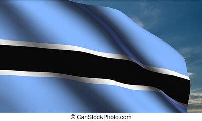 Botswana Flag waving in wind with clouds in background