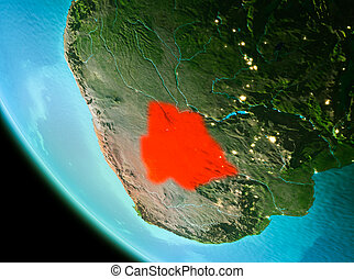 Botswana in red in the evening