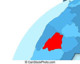 Botswana in red on blue globe