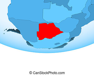 Botswana in red on blue map