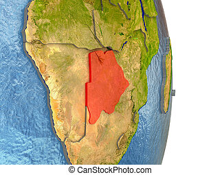 Botswana in red on Earth