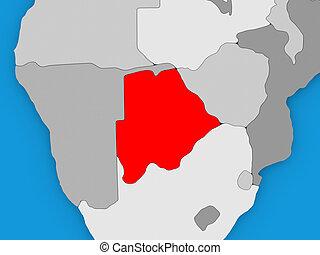 Botswana in red on globe