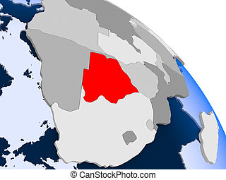 Botswana in red on map
