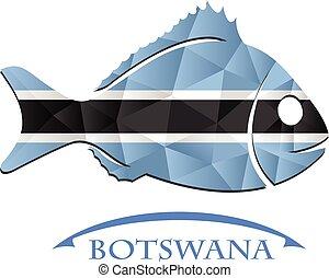 botswana., logo, fish, fait, drapeau
