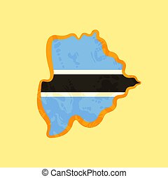 Map of Botswana colored with the flag and marked with a golden line in grunge vintage style.