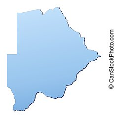 Botswana map filled with light blue gradient. High resolution. Mercator projection.