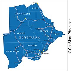 Highly detailed vector map of Botswana with administrative regions, main cities and roads.