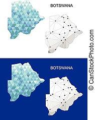 Botswana map in geometric polygonal