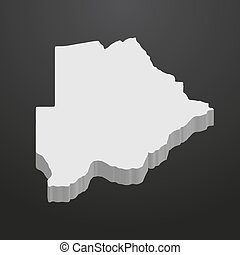 Botswana map in gray on a black background 3d