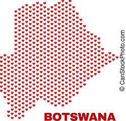 Botswana Map - Mosaic of Valentine Hearts