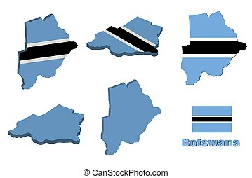 Botswana map on white background. vector illustration.