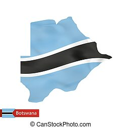 Botswana map with waving flag of country.