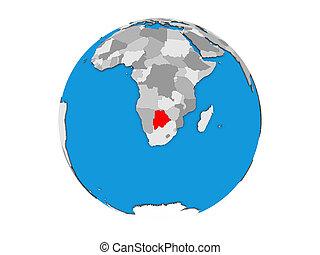 Botswana on 3D globe isolated