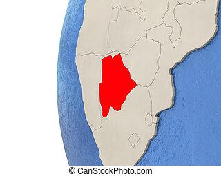 Botswana on 3D globe
