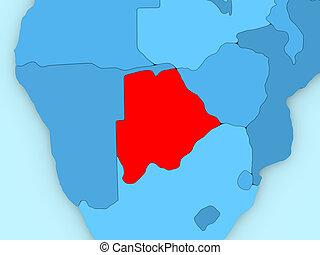 Botswana on 3D map