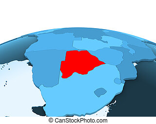 Botswana on blue political globe