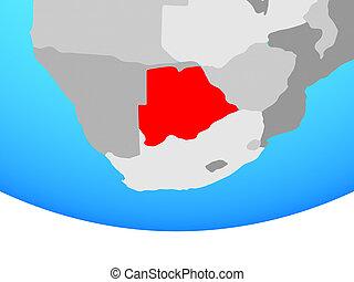 Botswana on globe