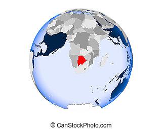 Botswana on globe isolated