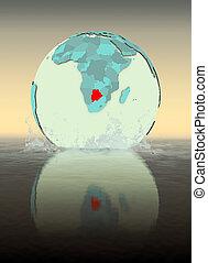 Botswana on globe splashing in water