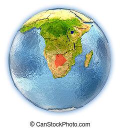 Botswana on isolated globe