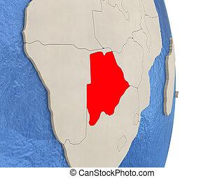 Botswana on model of political globe