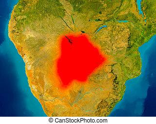 Botswana on physical map