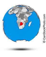 Botswana on political globe isolated